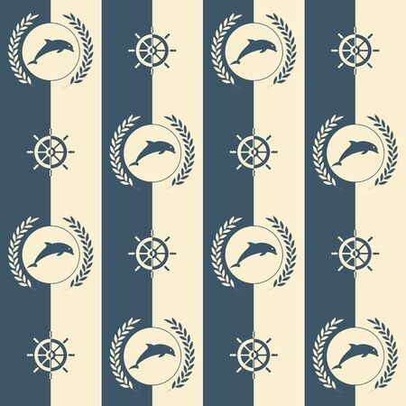 Nautical pattern, Seamless vector illustration with abstract dolphin and steering wheels