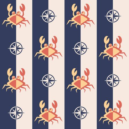 Nautical pattern, Seamless vector illustration with abstract crabs and roses of wind
