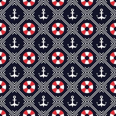Nautical pattern, Seamless vector illustration with abstract lifebuoys and anchors