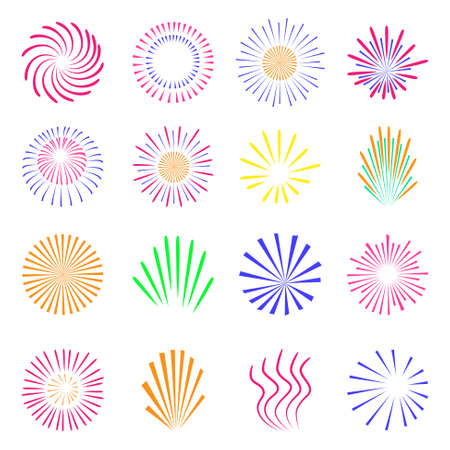 Holiday and party firework icons collection. Vector illustration