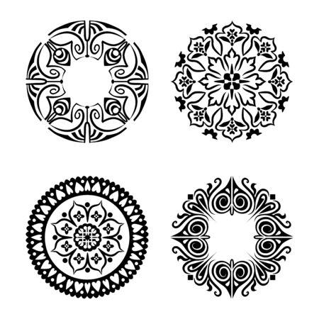 Black round east ornament set. Vector spirographs
