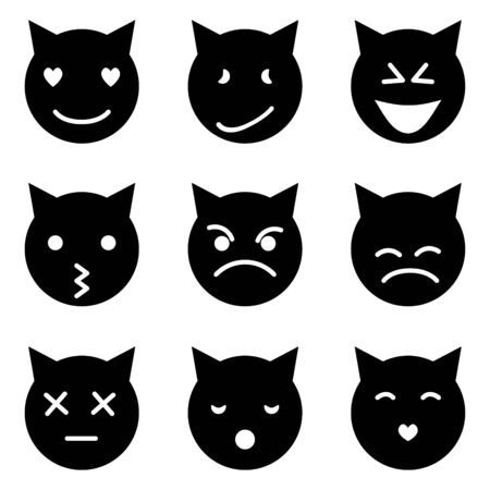 Set of cat emoticons in simple and cute cartoon style Vettoriali