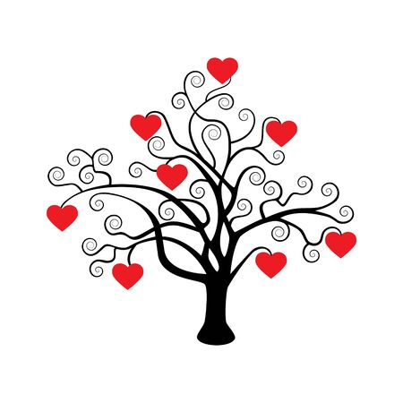 Silhouette of a tree with hearts on a white background.