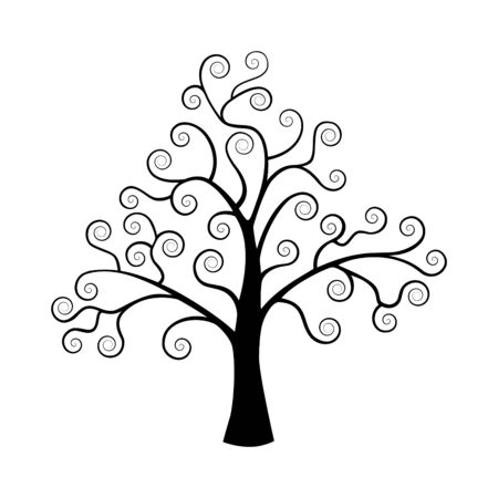 The stylized tree. Silhouette on a white background.