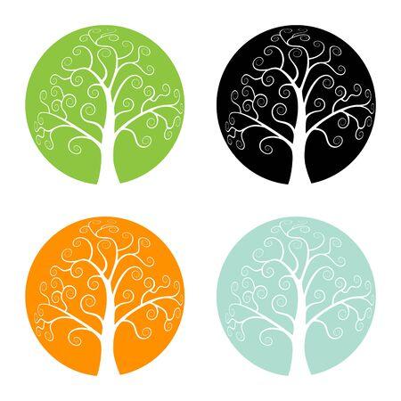 Ensemble d'icônes d'arbre de saison colorée, illustration de logo vectoriel
