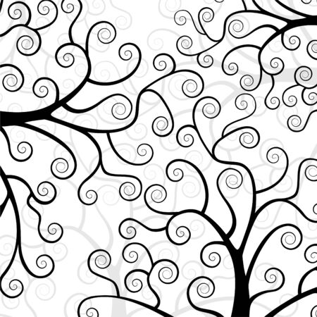 The stylized tree. Silhouette on a white background. Texture with trees. Vektorgrafik