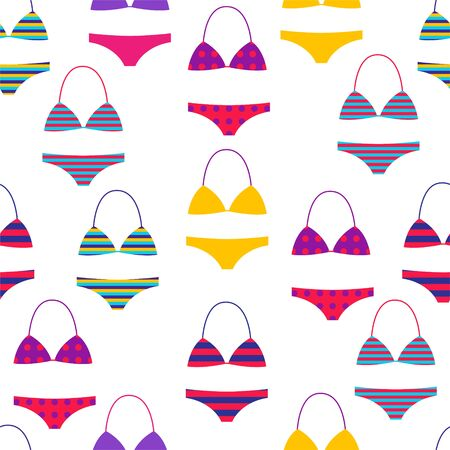 Bathing suit various models. Vector illustration. Seamless background