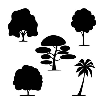Silhouettes of trees on a white background Ilustración de vector