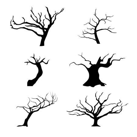 Collection of trees silhouettes. Vettoriali