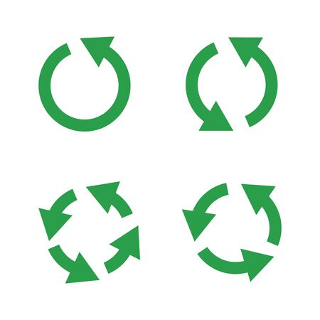 Green reusable arrow icons, eco recycle or recycling vector signs isolated on white background Illustration