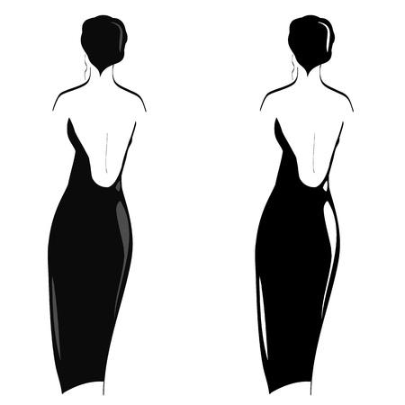 robes de soir�e: silhouettes de femmes en robe du soir sur le fond blanc