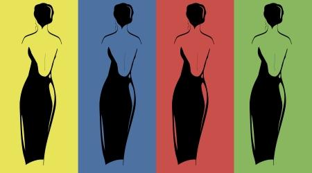 robes de soir�e: silhouettes de femmes en robe du soir sur le fond color� Illustration