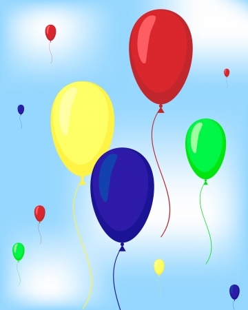 colorful balloons flying in the sky abstract vector background Vector