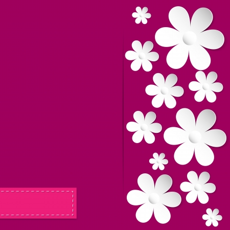 daisy wheel: abstract card with camomiles on the pink background vector