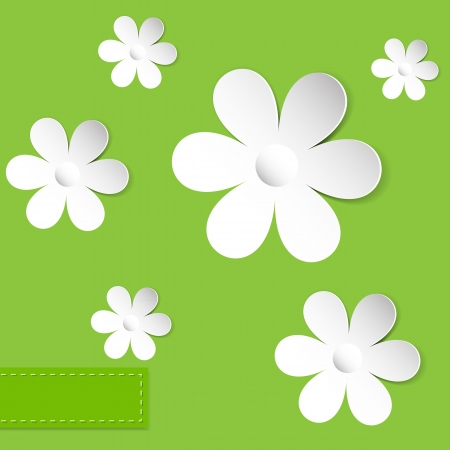 daisy wheel: abstract camomiles on the green background vector