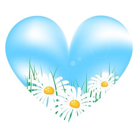 abstract vector sky in the form of heart with camomiles and grass on white background