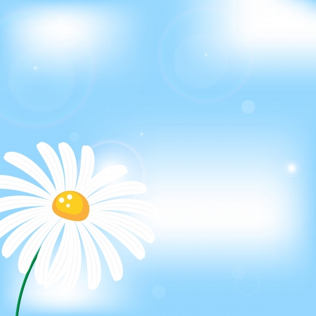 daisy wheel: abstract vector background with camomile flower in sunshine, sky and clouds Illustration