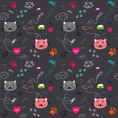 seamless hand drawn pattern with funny cats on the dark background  Vector