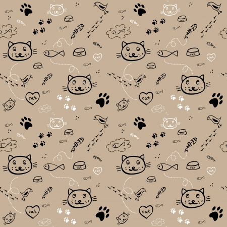 illustration of black fishbone: seamless hand drawn pattern with funny cats on the light brown background