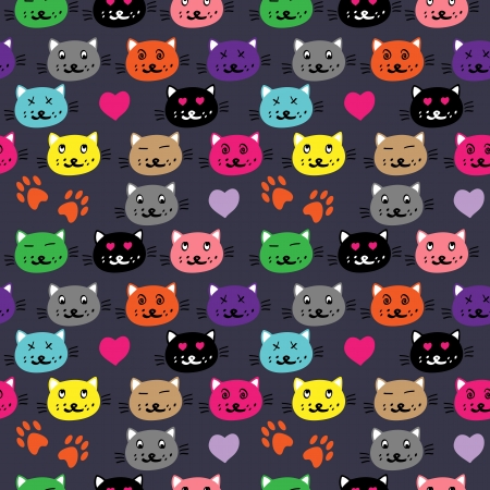 seamless pattern with cartoon cat faces on the dark backgroun vector Vector