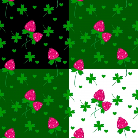 seamless pattern with clover flovers and leaves vector background Stock Vector - 18301266