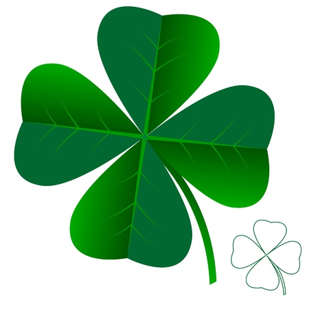 4 leaf: abstract clover leaf isolated on white background vector