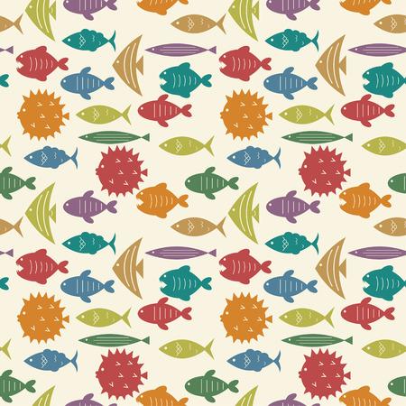 bunter fisch: nahtlose Muster mit bunten Fischen Silhouetten Vektor Hintergrund Illustration