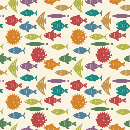seamless pattern with colorful fish silhouettes vector background Vector
