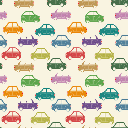 seamless pattern of colorful cartoon city car silhouettes vector background Vector