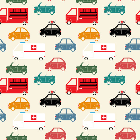 seamless pattern of colorful cartoon emergency service and city car silhouettes vector background Vector
