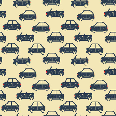 seamless pattern of cartoon city car silhouettes vector background Vector