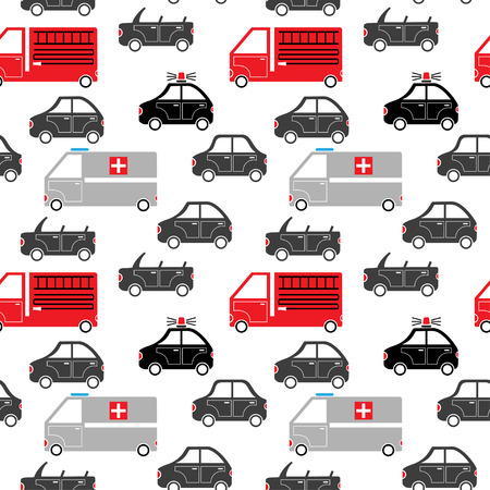 seamless pattern of cartoon emergency service and city car silhouettes vector background Vector