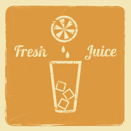 coolness: poster with a glass with ice and orange with juice drops vector background with retro effect Illustration