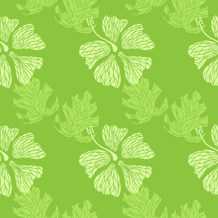 seamless pattern with hand drawn hibiscus flowers and leaves on the lime background vector Vector