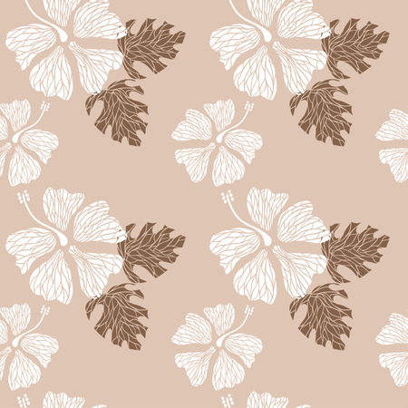 seamless pattern with hand drawn hibiscus flowers and leaves on the nude background vector Vector