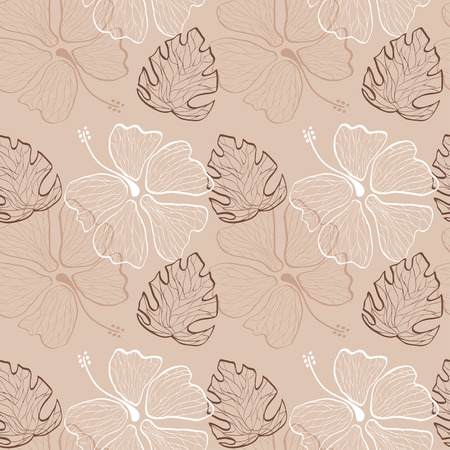 seamless pattern with lace hand drawn hibiscus flowers and leaves on the nude background vector Vector