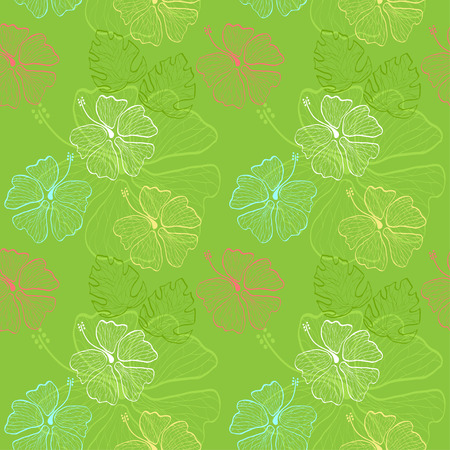 seamless pattern with lace hand drawn hibiscus flowers and leaves on the green background vector Vector