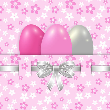 daisy wheel: easter card template with eggs and silver bow on the pink seamless floral background vector Illustration
