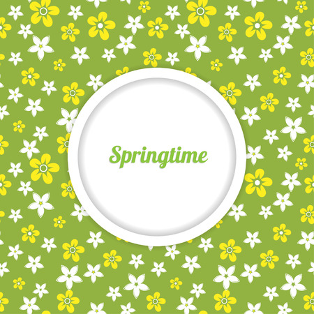 daisy wheel: spring template for design with place for inscription on the seamless floral pattern