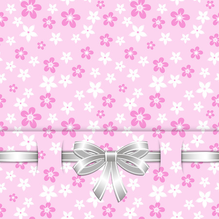 spring card template with bow on the seamless pink floral background vector Vector