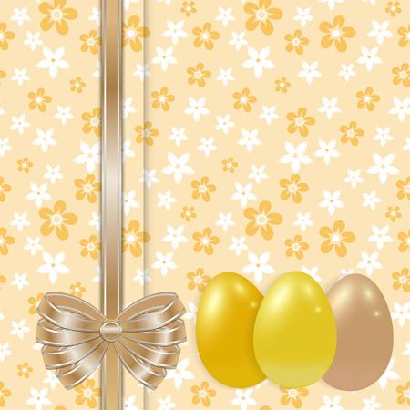uova d oro: Modello di scheda di Pasqua con le uova d'oro e fiocco sullo sfondo floreale senza soluzione di continuit� vettore