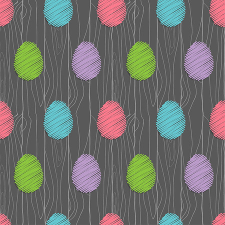 seamless pattern with abstract easter eggs on the wood Vector