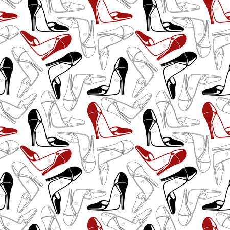 abstract seamless pattern with hand drawn shoes vector background Vector