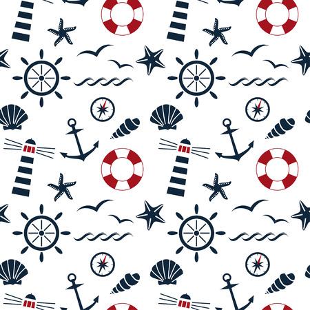 白い背景ベクトルに航海のシームレスなパターン  イラスト・ベクター素材