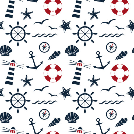 scallop shell: nautical seamless pattern on the white background vector