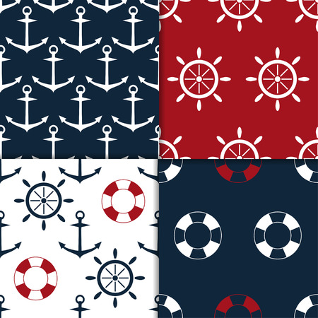 lifebouy: collection of four nautical seamless pattern vector