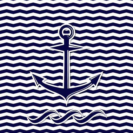 chevron background: abstract anchor symbol on the seamless chevron background vector