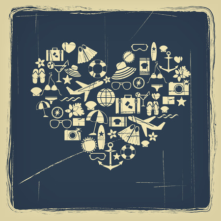 airplane icon: abstract heart symbol of summer flat icons with vintage effect vector for design Illustration