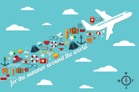 abstract illustration with airplane in the blue sky with fall summer things and slogan