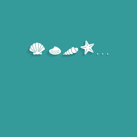 seashell: vector card template with seashell silhouettes in retro flat design